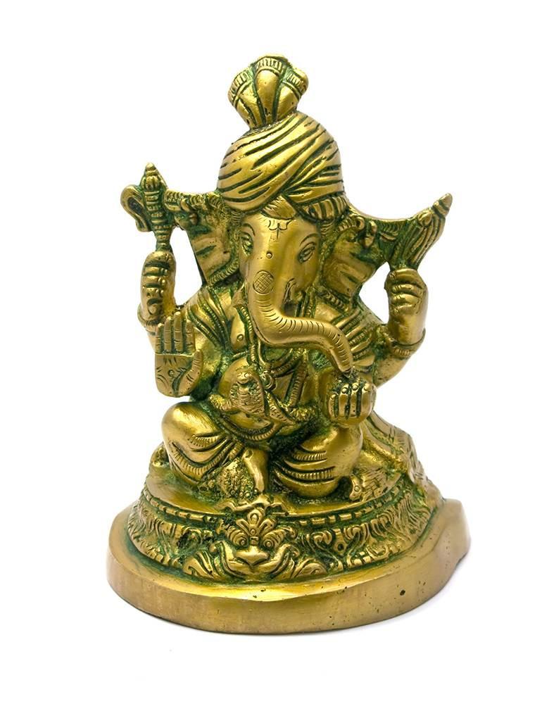 Ганеша бронза (16х11,5х9 см)(Ganesh Pagri Antic med CH)