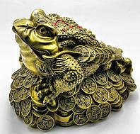 """Статуэтка """"Жаба на монетах"""" бронза (Д30*Ш21,5*В22/см)"""