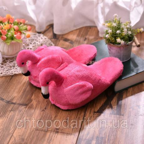 Мягкие тапочки кигуруми Фламинго розовые