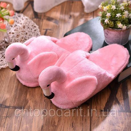Мягкие тапочки кигуруми Фламинго светло розовые Код 10-2776