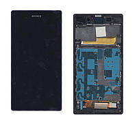 Матрица с тачскрином  для Sony Xperia Z1 C6902 черный с фиолетовой рамкой