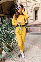 Трикотажный женский костюм с топом худи и завышенной талией tez205657, фото 1