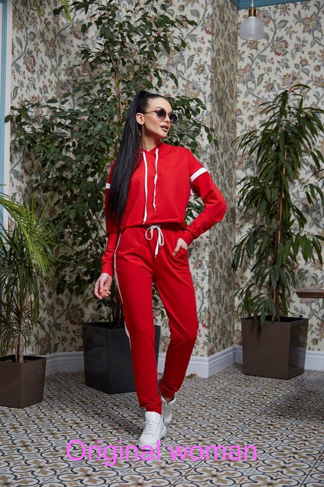 Женский спортивный костюм с худи и прямыми штанами tez205665