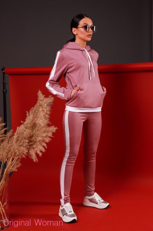 Женский трикотажный спортивный костюм с худи и белыми лампасами tez205666