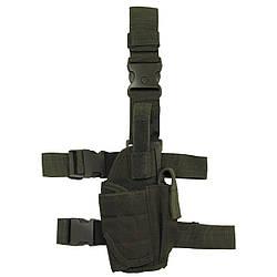 Кобура для пистолета набедренная правосторонняя регулируемая олива (тёмно-зелёная) MFH