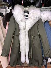 Хаки куртка парка с натуральным мехом арктической лисы на капюшоне