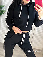 Женский спортивный костюм с укороченным худи и белыми лампасами tez5105683, фото 1