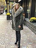 Светло серая куртка парка с натуральным мехом арктической лисы на капюшоне, фото 5