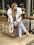 Светло серая куртка парка с натуральным мехом арктической лисы на капюшоне, фото 7