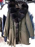 Светло серая куртка парка с натуральным мехом арктической лисы на капюшоне, фото 8