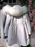 Светло серая куртка парка с натуральным мехом арктической лисы на капюшоне, фото 2