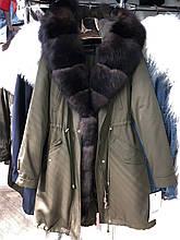 Хаки куртка парка с натуральным мехом песца на капюшоне