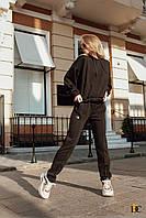 Женский черный спортивный костюм из трикотажа петли с худи tez3105699, фото 1