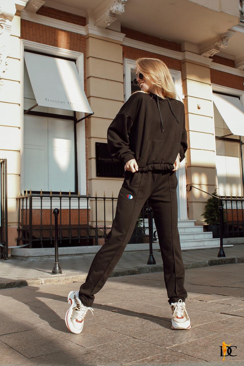 Женский черный спортивный костюм из трикотажа петли с худи tez3105699