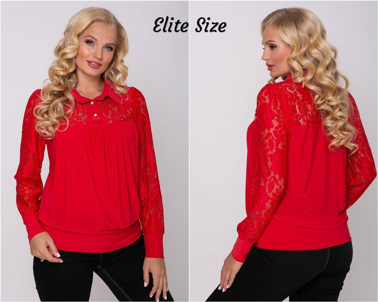 Женская блуза батал с длинным рукавом tez615206