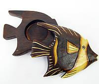 """Пепельница """"Рыба"""" деревянная (ST 154) (17 см) (Индонезия)"""