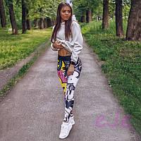 Женские лосины для спорта из принтованного яркого бифлекса tez7805727, фото 1