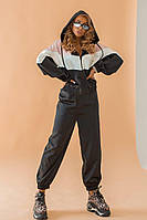 Женский спортивный костюм с укороченной мастеркой из перламутрового атласа tez1805729, фото 1
