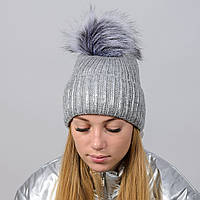 Вязаная женская шапка Nord с меховым помпоном Серый wpndinara03, КОД: 388278