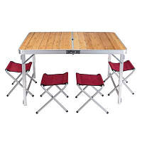 Стол туристический GreenCamp, бамбук,алюминий, 4 стула, GC-9001