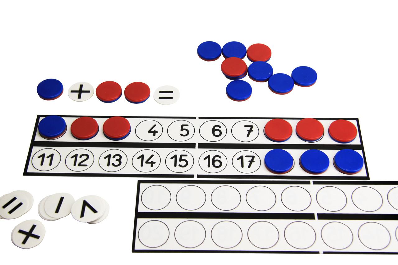 Дошка для учнів (30*7 см,) з фішками (22) і знаками (10)