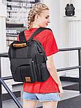 Рюкзак-органайзер для мам и детских принадлежностей темно-серый  Код 10-6907, фото 8