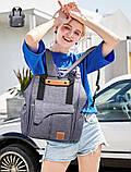Рюкзак-органайзер для мам и детских принадлежностей темно-серый  Код 10-6907, фото 10