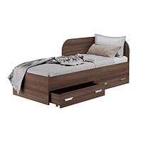 Кровать односпальная с ящиками для белья КАМА Ф 0413 темное дерево