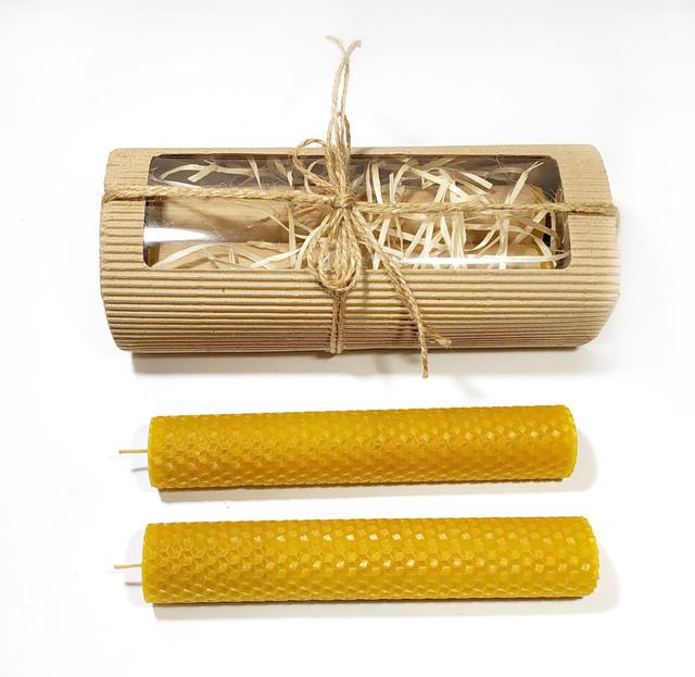 Катанные свічки ручної роботи з натурального бджолиного воску від виробника апимаг апімаг apimag