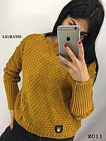Женский теплый вязаный свитер с узорной вязкой tez8204643, фото 1
