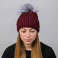Вязаная женская шапка Nord с меховым помпоном Бордо wpnelza08, КОД: 388196