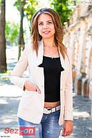 Пиджак женский удлиненный с золотой застежкой - Бежевый