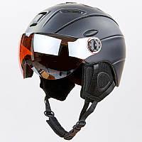 Гірськолижний шолом з визором та механізмом регулювання  (PC, p-p M, L, черный)