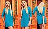 Стильное женское платье мини с арманами Versal бирюза