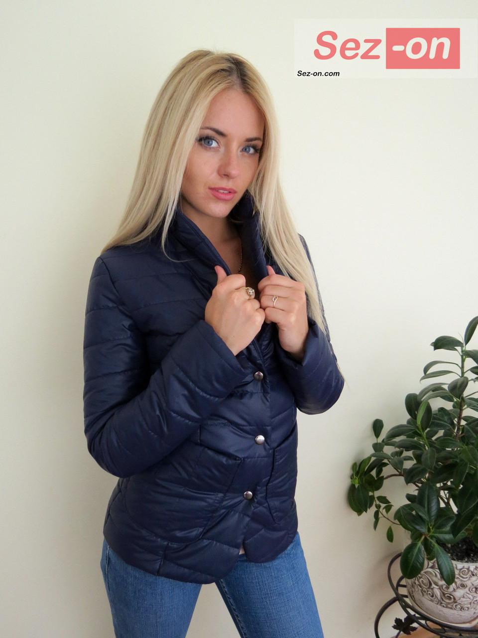 Куртка женская короткая на синтепоне - Синий