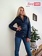Куртка женская короткая на синтепоне - Синий, фото 4