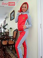 Костюм спортивный женский с плащевкой на синтепоне - Красный