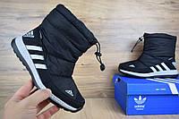 Женские зимние сапоги низкие Adidas, черные с белым, текстиль/мех