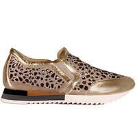 Женские натуральные кожаные летние золотые кроссовки на низком ходу с декором:камушки Турция