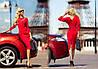 Стильное женское платье,рукав-летучая мышь Карнели красный