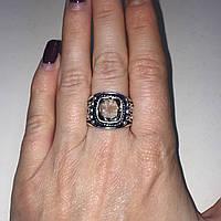 Кольцо с раух-топазом дымчатый кварц в серебре 17.5 размер. Кольцо с камнем раух-топаз Индия