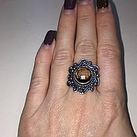 Кольцо с раух-топазом дымчатый кварц в серебре 18 размер. Кольцо с камнем раух-топаз Индия