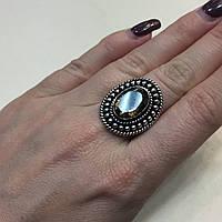 Кольцо с раух-топазом овал дымчатый кварц в серебре 17.5 размер. Кольцо с камнем раух-топаз Индия