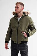 Зимняя мужская короткая теплая куртка без бренда, хаки, фото 1