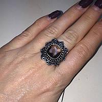 Кольцо с раух-топазом квадратное дымчатый кварц в серебре 18,5-19  размер. Кольцо с камнем раух-топаз Индия