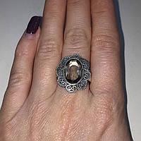Кольцо с раух-топазом овал дымчатый кварц в серебре 18,5-19 размер. Кольцо с камнем раух-топаз Индия