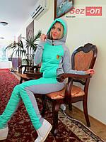 Костюм спортивный женский с плащевкой на синтепоне - Бирюзовый
