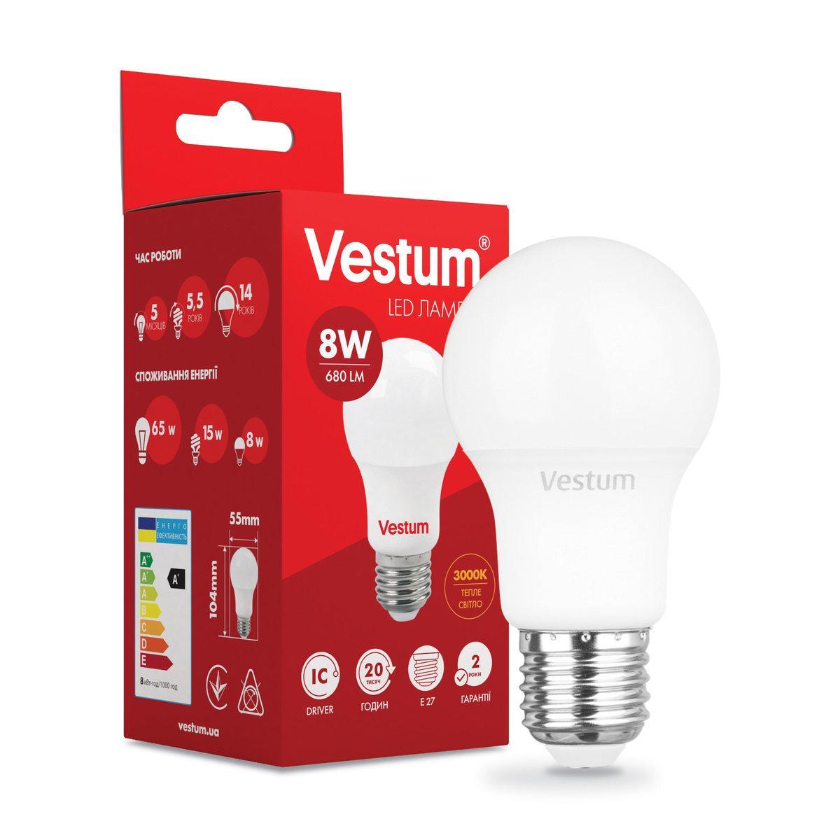 Светодиодная лампа Vestum LED  A55 8W 3000K 220V E27