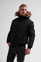 Короткая мужская зимняя куртка с мехом, черная, фото 1