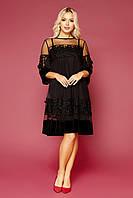Платье большого размера нарядное из велюра и евросетки черное GLEM платье Хелма-Б 3/4